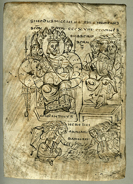 Emperor Constantine and the Council of Nicaea. The burning of Arian books is illustrated.