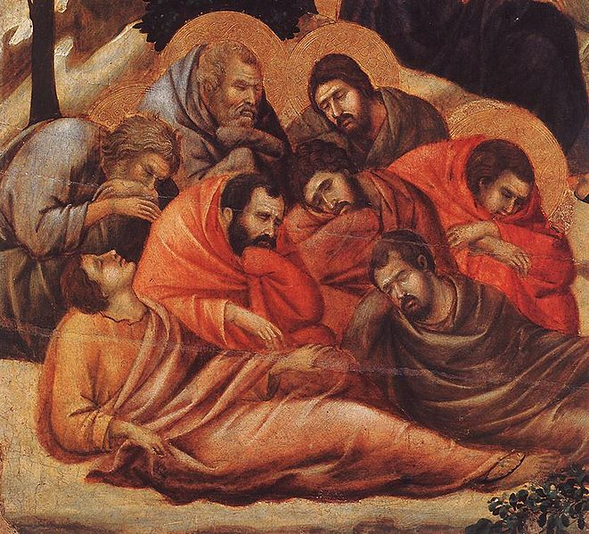 Painting by Duccio di Buoninsegna of the Agony in the Garden, showing the Apostles sleeping.