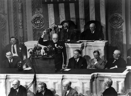 Sir Winston Churchill addressing a joint session of the United States Congress, May 1943.