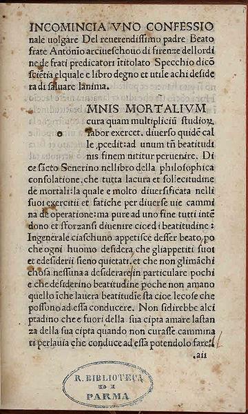 Summa confessionalis, Curam illius habes, written by St. Antoninus.