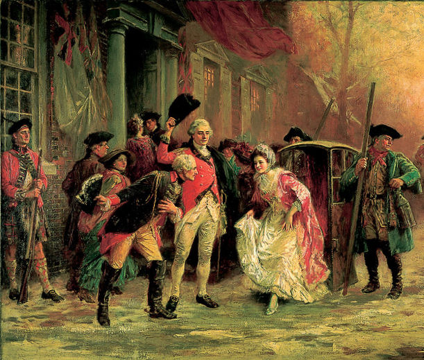 Arrival at a ball in Colonial Philadelphia by J. L. G. Ferris.