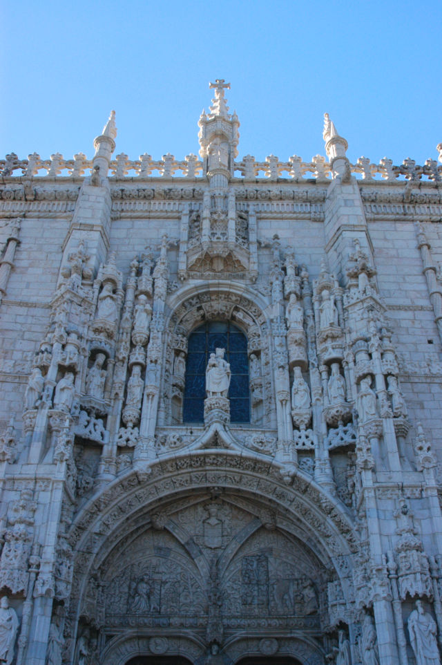 Statue of Our Lady of Belém over the South Portal entrance to Jerónimos Monastery where Vasco da Gama spent the night praying before leaving for India.