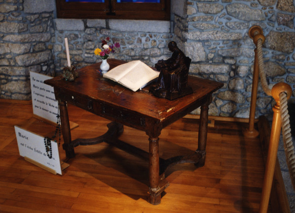 The desk upon which Saint Louis Marie Grignon de Montfort wrote the Treatise on True Devotion to Mary.