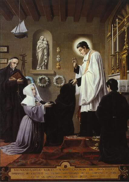 Blessed Marie-Louise Trichet takes the habit from Saint Louis de Montfort as the first of the Daughters of Wisdom.