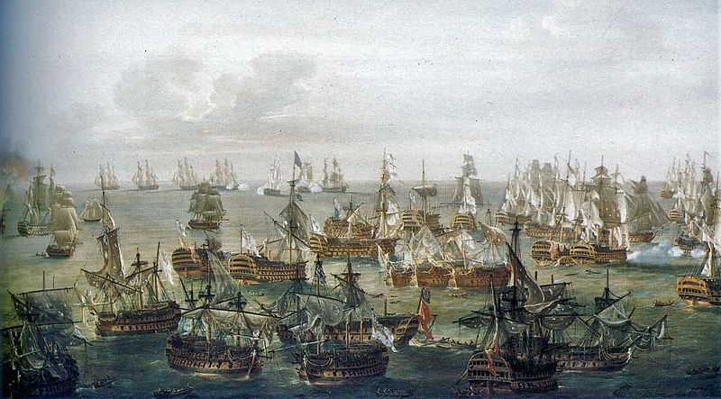 Trafalgar Battle - 21st of Octaber 1805 - Situation at 17h, painted by Nicholas Pocock.