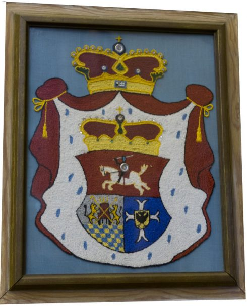 The coat of arms of Prince Demetrius Gallitzin, presented to the Basilica of the Sacred Heart of Jesus, also known as Conewago Chapel, Pennsylvania by Bishop Richard Guilfloyle, Bishop of Altoona.