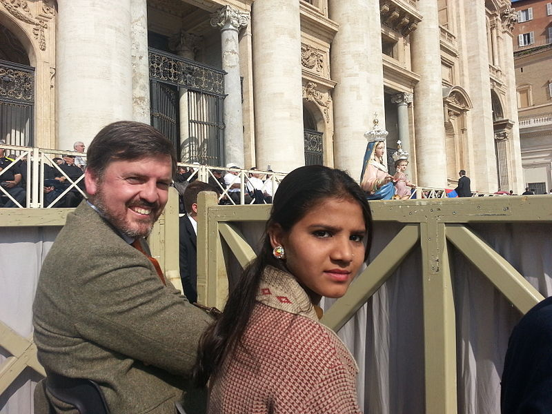 Asia Bibi's daughter, Eisham Asiq, with Ignacio Arsuaga, president of HazteOir.org at the Vatican. Aasiya Noreen, also known as Asia Bibi, is a Catholic would has been imprisoned on false charges. Photo by Olivier LPB.