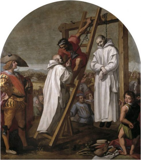 Martyrdom of Dom John Rochester and Dom James Walworth. Painted by Vicente Carducho.