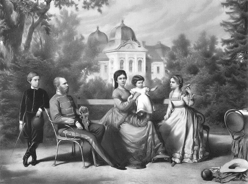 A lithograph of King Franz Joseph and Queen Elisabeth, with their children Rudolf (1858); Marie Valerie (1868) and Gisela (1856).