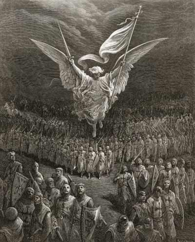 An angel leading the Crusaders to Jerusalem by Gustave Doré.