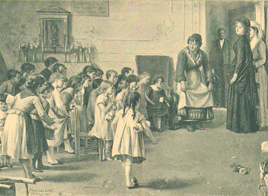 Children learning how to curtsy from an 1890 German Print.