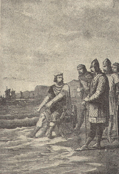 """Illustration of """"Cnut and the Waves"""" where King Canute rebukes his courtiers. Drawn by Alphonse-Marie-Adolphe de Neuville."""