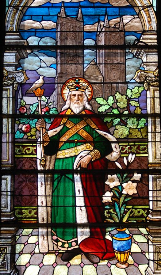 Saint Edward the Confessor stained-glass window in Cathedral Basilica of Saint Joseph, San Jose, California.