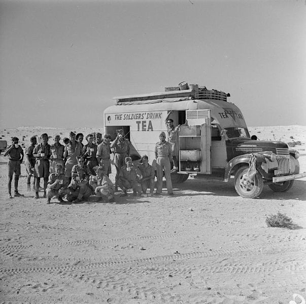 A mobile tea canteen for the British Army in North Africa 1942.