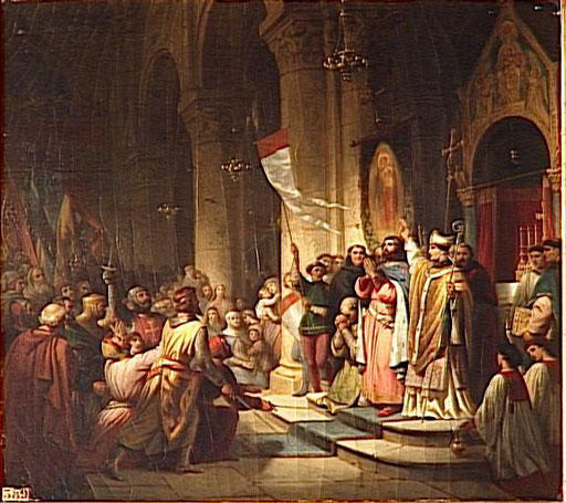 Election of Boniface I, Marquess of Montferrat as leader of the Fourth Crusade.