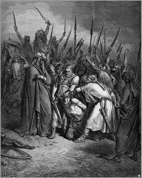 """Gustave Doré, The Death of Agag. Agag was executed by Samuel God had commanded him to """"completely destroy"""" the Amalekites"""