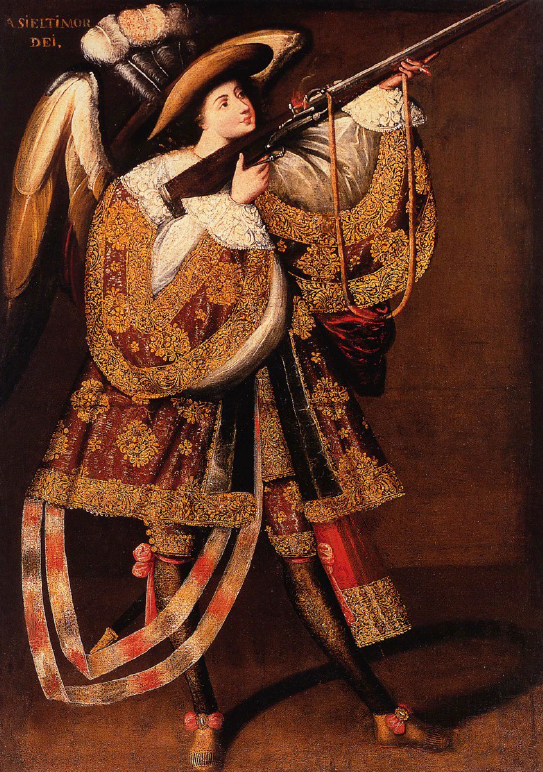 Master of Calamarca's painting of an Archangel with a Gun.