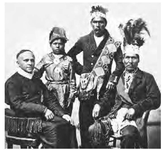 Pictured here are three Wabanaki Indians with a Jesuit priest.
