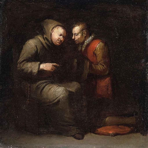 Confession. Painting by Egbert Van Heemskerck the Younger.