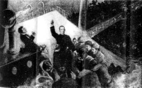 An Illustration Depicting Father Byles Bravely Facing Death As The Titanic Plunged Into The Depths Of The Atlantic Ocean.