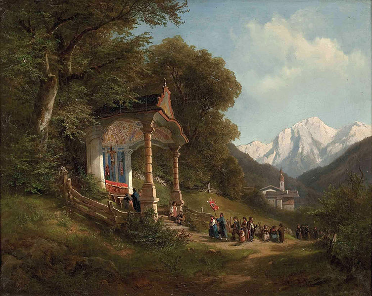 Mountain procession in Ramsau, Austria, painted by Leopold Munsch.