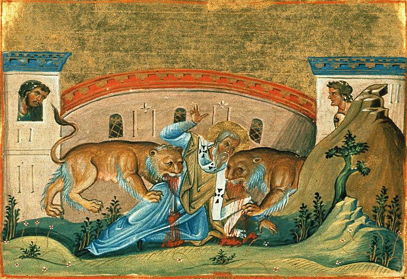 The martyrdom of St. Ignatius of Antioch.