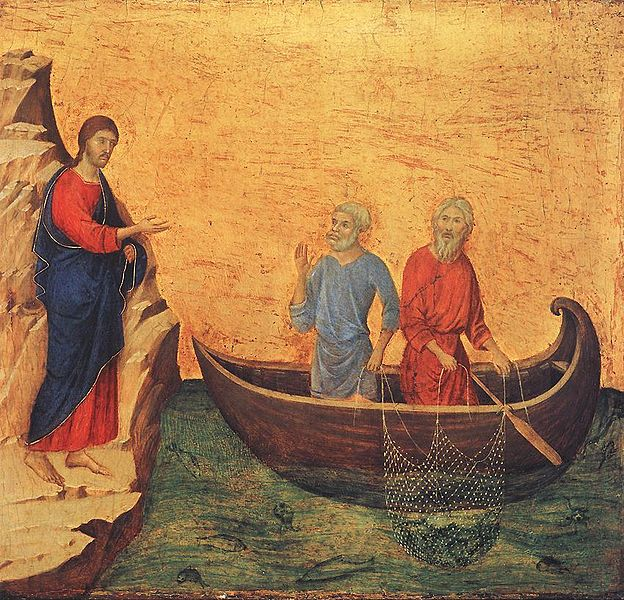 Our Lord calling St. Peter and St. Andrew. Painting by Duccio di Buoninsegna.