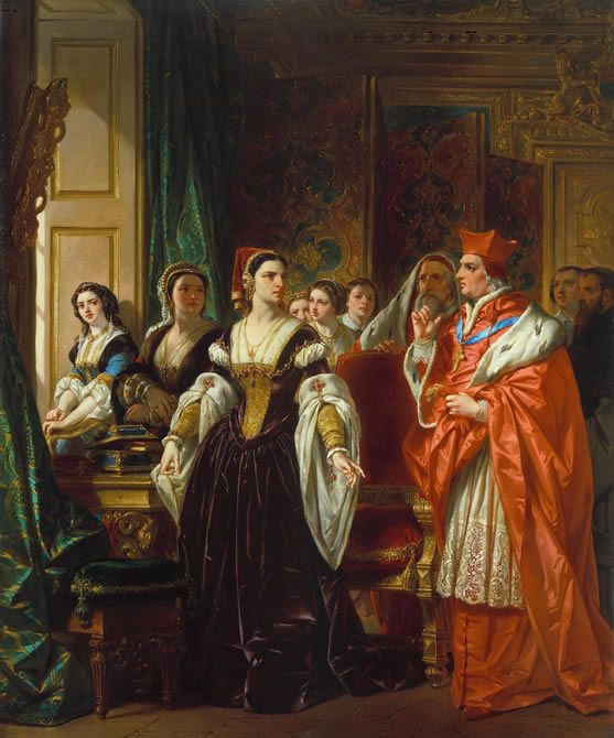 Henry Monro, 'The Disgrace of Wolsey.' Painting of Cardinal Wolsey attempting to persuade Catherine of Aragon to admit her marriage was invalid and join a nunnery.