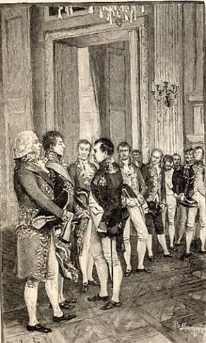 Napoleon with (far left) Charles Maurice de Talleyrand-Périgord.