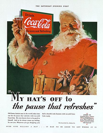 First Coca-Cola Santa in 1931 created by Haddon Sundblom.