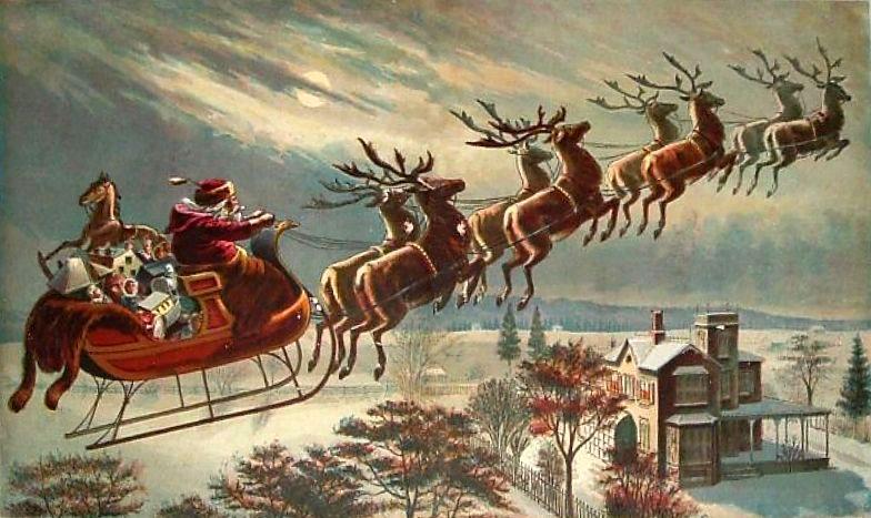 Santa with eight flying reindeer.