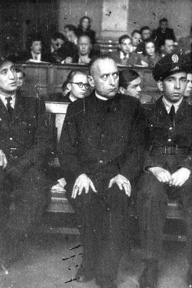 "Cardinal Josef Mindszenty, Archbishop-Prince of Esztergom and Primate-Regent of Hungary, Servant of God, pictured here at his 1949 ""show trial"", 1892 – 1975. Cardinal Mindszenty was imprisoned by the pro-Nazi Arrow Cross Party. After the war, he opposed Communism and it's persecution in Hungary. As a result, Cardinal Mindszenty was tortured and given a life sentence in a 1949 show trial that generated worldwide condemnation. After eight years in prison, he was freed in the Hungarian Revolution of 1956 and granted political asylum by the United States embassy in Budapest, where Cardinal Mindszenty lived for the next fifteen years. He was finally allowed to leave the country in 1971. He died in exile in 1975 in Vienna, Austria."